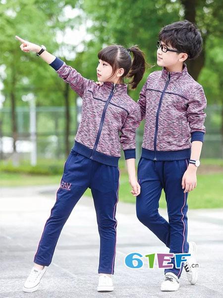 校园大道童装品牌2018春夏中大童开衫运动服男童女童长袖两件套