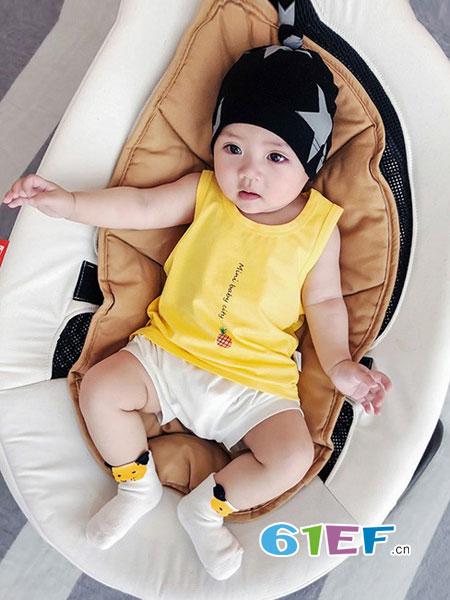旺贝特童装品牌2018春夏新生儿吊带男一岁薄款女宝宝小背心