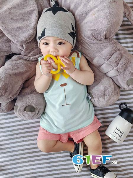 旺贝特童装品牌2018春夏婴幼儿印花上衣男童女童可爱打底衫外穿