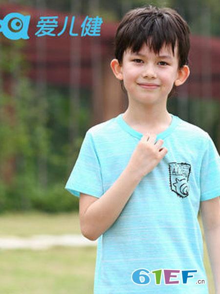 爱儿健童装品牌2018春夏夏装男童大童针织圆领男孩短袖衫T恤上衣