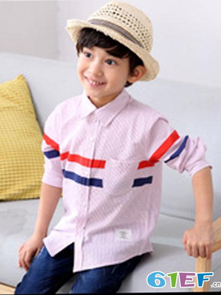 零也童装品牌2018秋冬纯棉男童衬衣 外贸童装长袖细条纹儿童衬衫