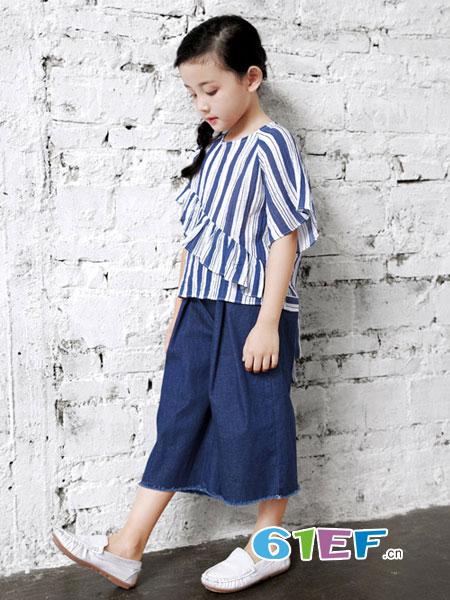 幼幼&娜娜童装品牌2018春夏竖条纹泡泡袖衬衫女童韩国童装新款阳光