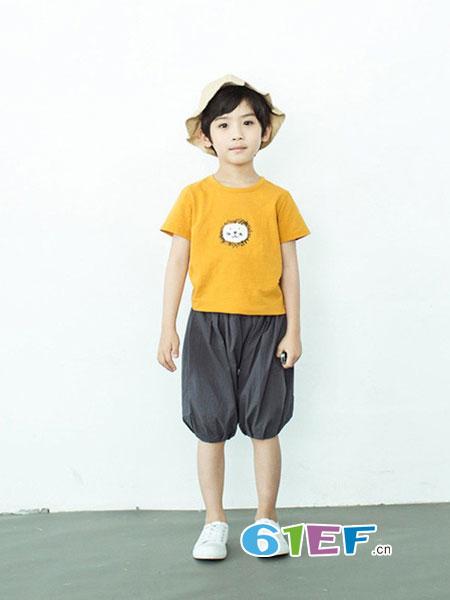 植木森系童装品牌2018春夏短袖T恤男童圆领套头可爱狮子印花上衣