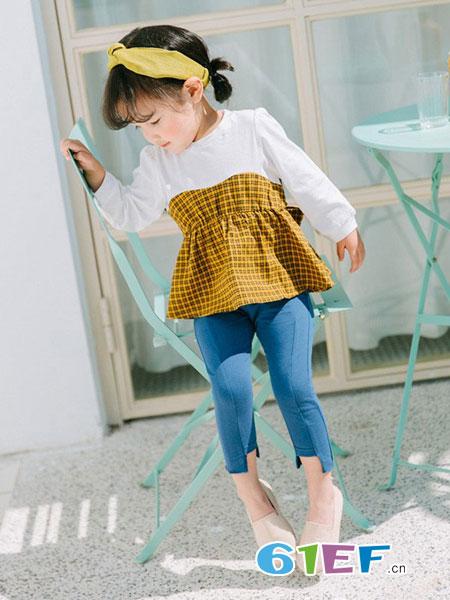 小毛虫童装品牌女童长袖t恤2018新款韩版春装拼接儿童连衣裙娃娃衫甜美公主纯棉