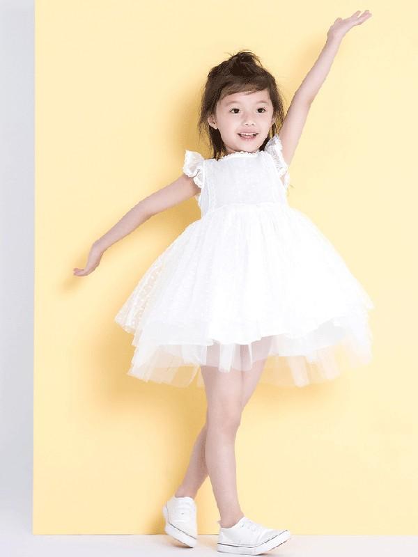 ULLU 优露童装品牌女童吊带裙2018夏装新款中大童蓬蓬纱裙短袖露肩公主裙