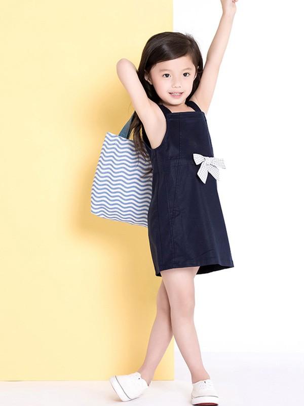 ULLU 优露童装品牌2018春夏夏装抽绳系带蝴蝶结天丝吊带连衣裙