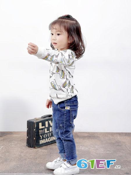 班吉鹿banjilu童装品牌2018秋冬新款连帽条纹长袖卫衣韩版儿童宝宝两件套