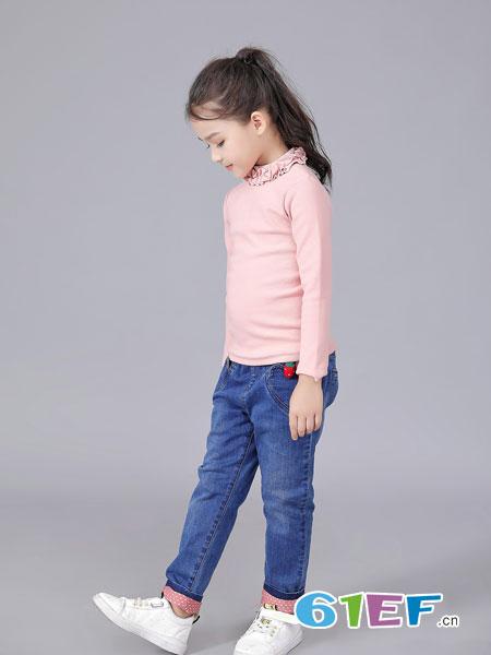班吉鹿banjilu童装品牌2018秋冬新款女童加绒T恤中大童百搭高领长袖打底衫
