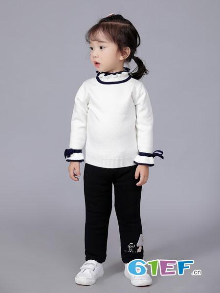 班吉鹿banjilu童装品牌2018秋冬女童半高领加绒加厚黑色毛衣套头