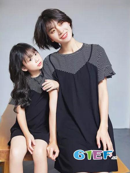 德玛纳DME情侣亲子2018春夏圆领荷叶袖修身时尚韩版条纹裙