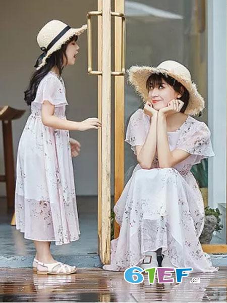 德玛纳DME情侣亲子2018春夏新款韩版收腰显瘦雪纺中长裙