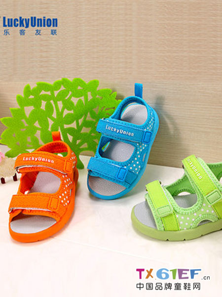 乐客友联Lucky Union童鞋童鞋品牌2018春夏夏季1-6岁男女童沙滩鞋亮色可爱圆点舒适凉鞋