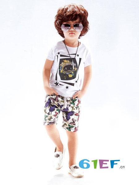 辛芭狗童装品牌2018春夏品儿童t恤男童嘻哈街舞五分袖印花潮牌
