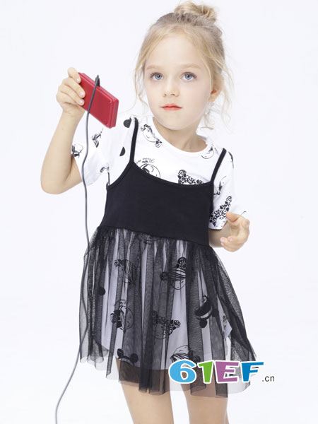 巴柯拉童装品牌2018春夏新款女童两件套连衣裙