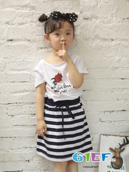 小蚂蚁童装品牌2018春夏夏季新品莱卡棉系带女童连衣裙