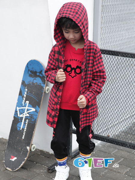 �岸垢笸�装品牌2018秋冬韩国童装中大童纯棉上衣衬衣翻领