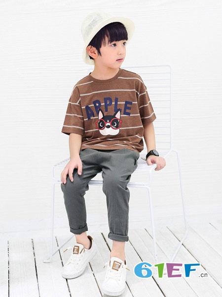 多多家童装品牌男童短袖T恤夏季新款2018卡通狗狗条纹衫宝宝上衣