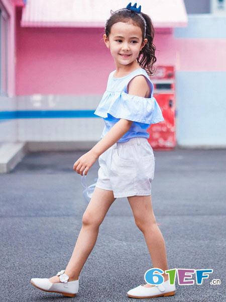 七匹狼童装品牌女童夏装2018新款时髦洋气时尚夏季大儿童女孩休闲t恤
