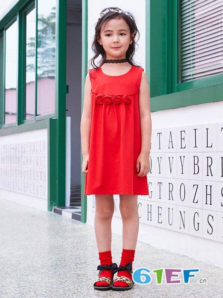七匹狼童装品牌女童连衣裙2018新款女童连衣裙子夏季无袖淑女公主裙