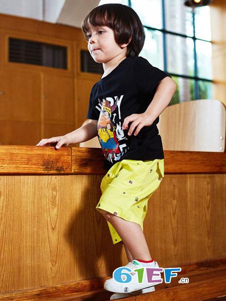 七匹狼童装品牌男童t恤短袖2018新款中小童夏装儿童t恤男大童个性时尚