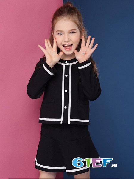 米奇丁当龙8国际娱乐官网品牌女童两件套2018秋季新款纯棉外套洋气半身裙套装韩版时尚