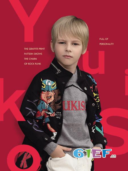 YukiSo童装品牌2018秋冬新款男童针织潮酷前开毛衫中小童