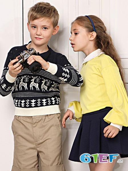 伊顿风尚童装品牌2018春夏上衣童装中大童针织衫