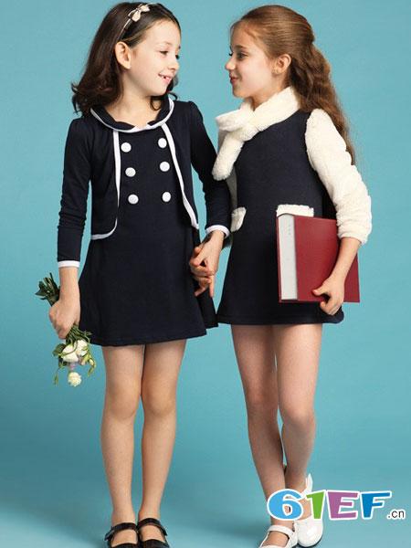 伊顿风尚童装品牌2018春夏女童新款镶边双排扣连衣裙