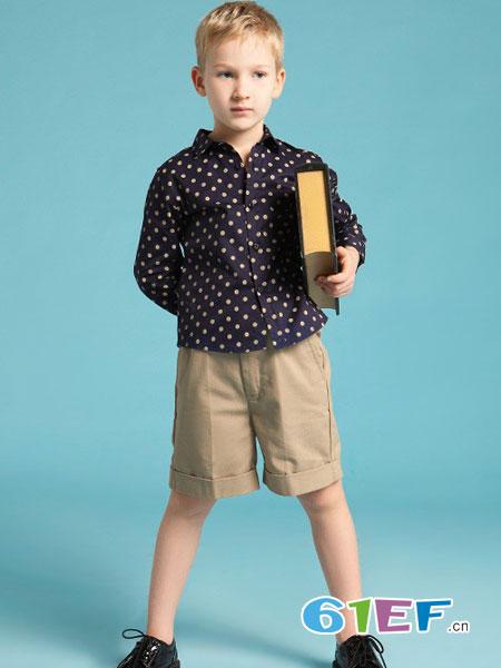 伊顿风尚童装品牌2018春夏男童长袖衬衫纯棉衬衫