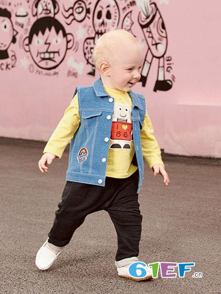 下一代童装品牌2018春夏新款韩版男童牛仔背心儿童开衫