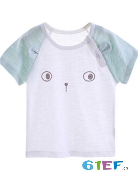 巧尼熊童装品牌2018春夏婴儿短袖T恤纯竹节棉薄款半袖上衣休闲打底衫婴儿夏装