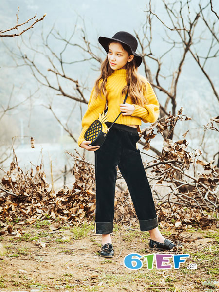 水孩儿souhait童装品牌2018秋冬高领针织打底衫中小童拼接色加厚毛衣