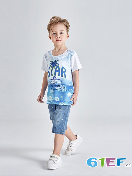 Carpotree卡波树童装品牌2018春夏新款男童圆领短袖T恤沙滩印花