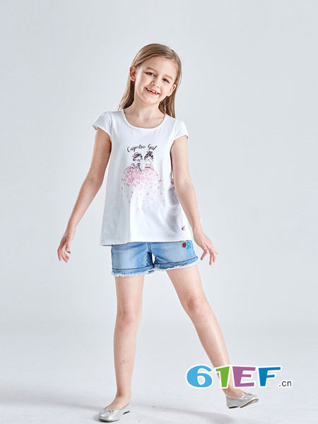 Carpotree卡波树童装品牌2018春夏新款女大童短袖T恤