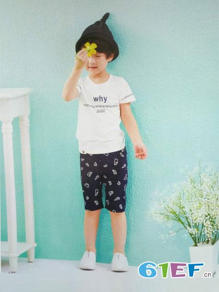 小神童童装品牌2018春夏男童短袖T恤夏装男装黑白圆领印