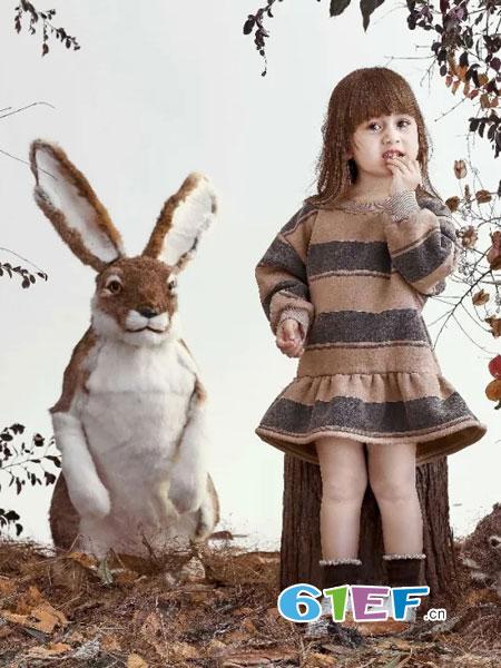 兔子杰罗童装品牌2018秋冬女童连衣裙儿童长袖裙羊毛呢子公主裙