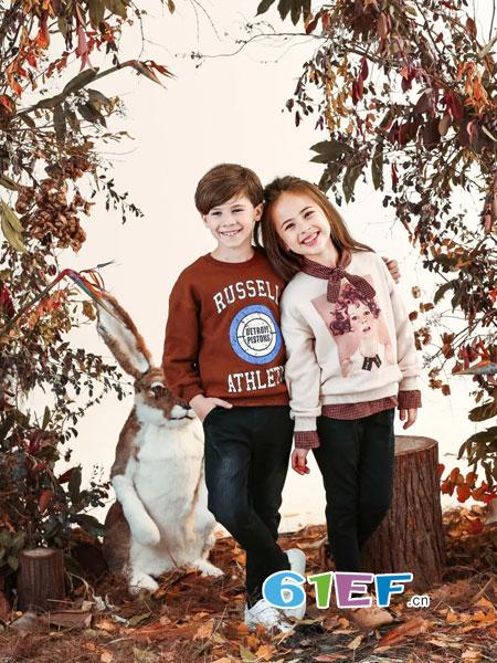 兔子杰罗童装品牌2018秋冬中大童女童卡通美人鱼毛衣 童装打底针织衫