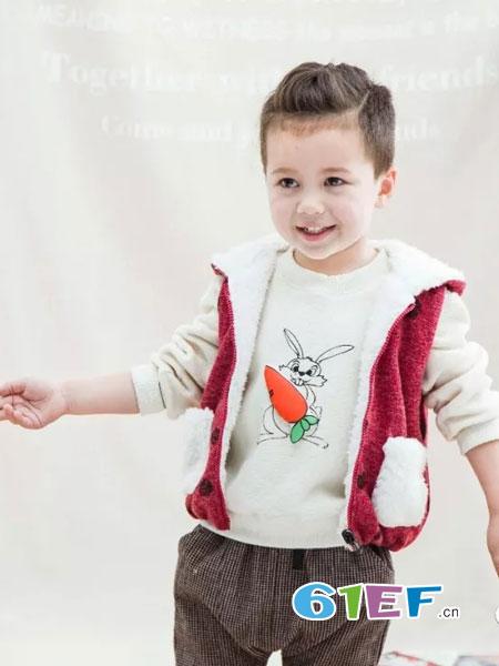 兔子杰罗童装品牌2018秋冬外套加绒衣加厚保暖上衣套头