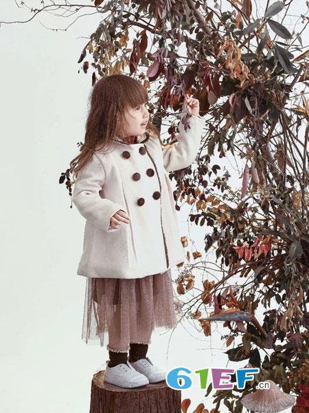兔子杰罗童装品牌2018秋冬新款洋气公主双排扣加绒潮宝宝儿童呢大衣