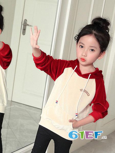 熊不乖童装品牌女童春秋季金丝绒卫衣2018新款T恤中大童运动