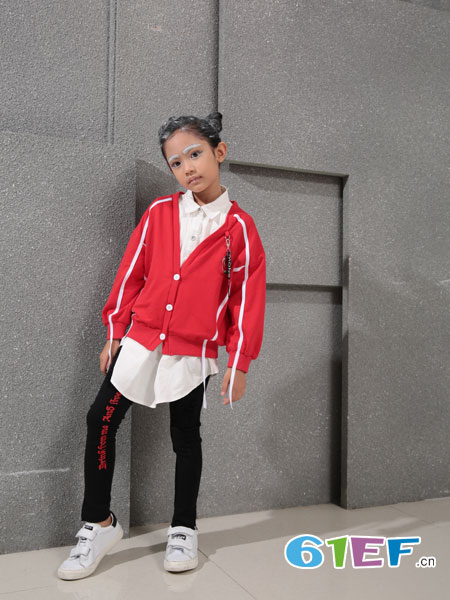 小猪芭那童装品牌2018秋冬新款韩版学院风针织衫开衫宽松显瘦V领