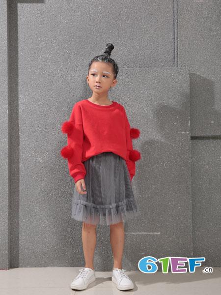 小猪芭那童装品牌2018秋冬宽松针织衫韩短款蝙蝠衫灯笼袖羊毛衫儿童女