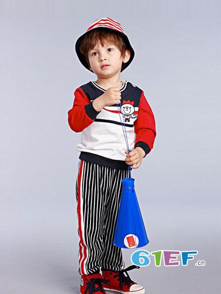 流浪熊童装品牌新款纯棉卡通童趣休闲条纹长袖圆领时尚套装