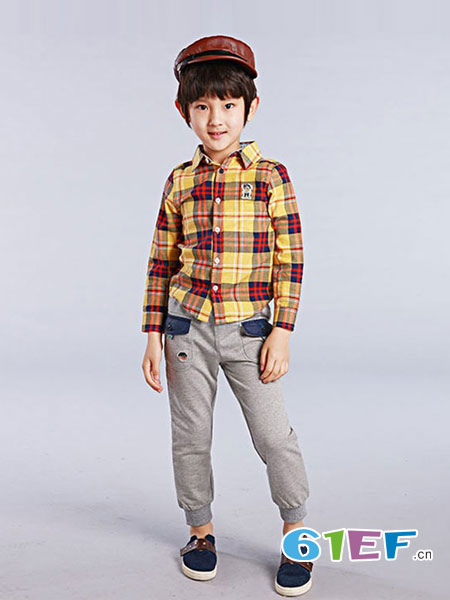流浪熊童装品牌新款条纹口袋男童长袖格子衬衫