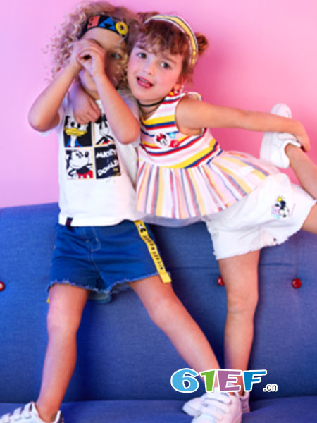 迪士尼童装品牌2018春夏女童针织时尚裙式背心