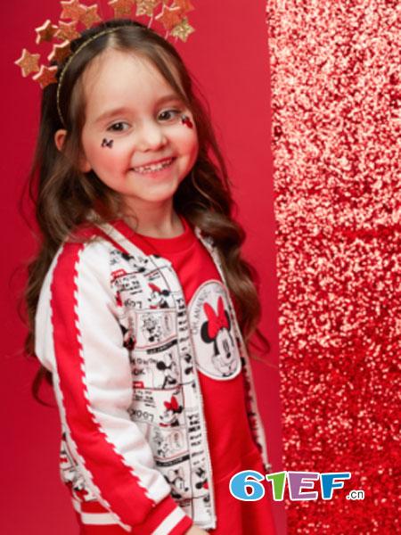 迪士尼童装品牌2018春夏女童针织时尚棒球服