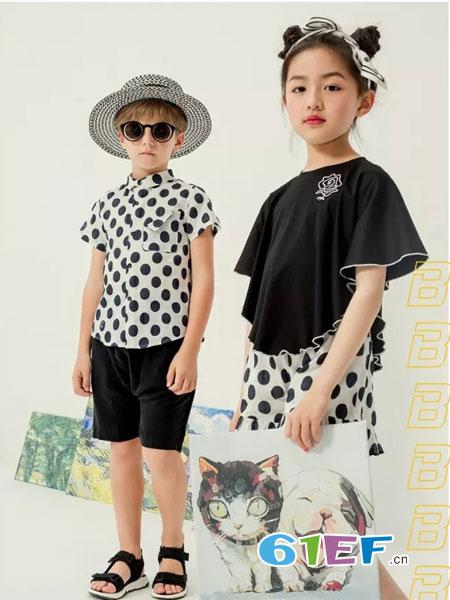 风笛童装品牌2018春夏运动宽松短款短袖T恤