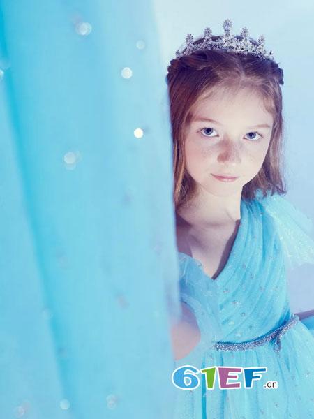 风笛童装品牌2018春夏女童连衣裙子儿童冬季爱莎公主裙