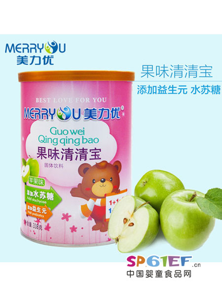 美力优婴儿食品清清宝苹果味 338克罐装