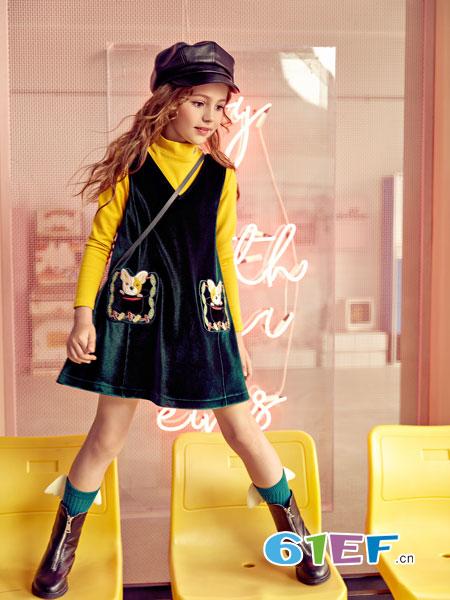 巴柯拉童装品牌2018秋冬韩版显瘦洋气两件套